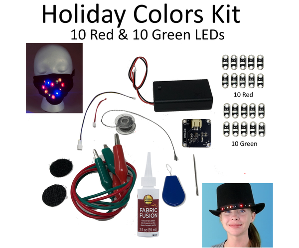Holiday Edition: Jewel Series DIY Light Up Mask & Clothing Kit with Red & Green LEDs