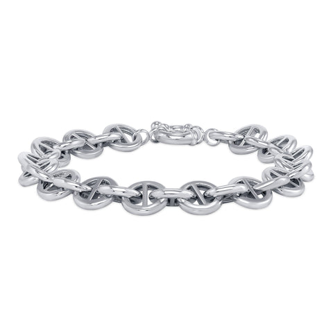 round pill-shaped link bracelet sterling silver