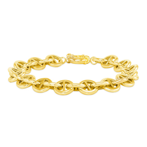 round pill-shaped link bracelet 18 karat yellow gold plated