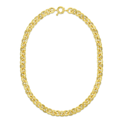 Round Pill Link Necklace in 18 Karat Yellow Gold Plated Sterling Silver