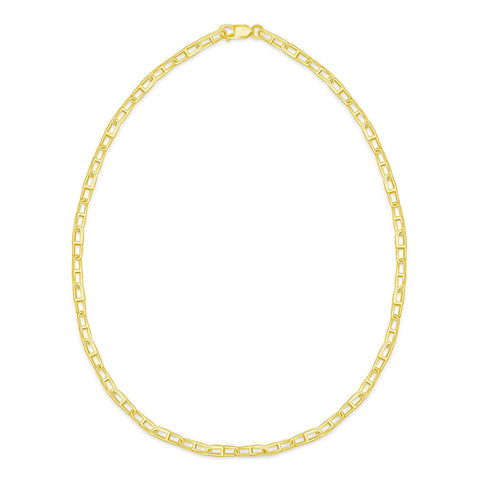 pill link necklace in 18 karat yellow gold plated sterling silver gold vermeil