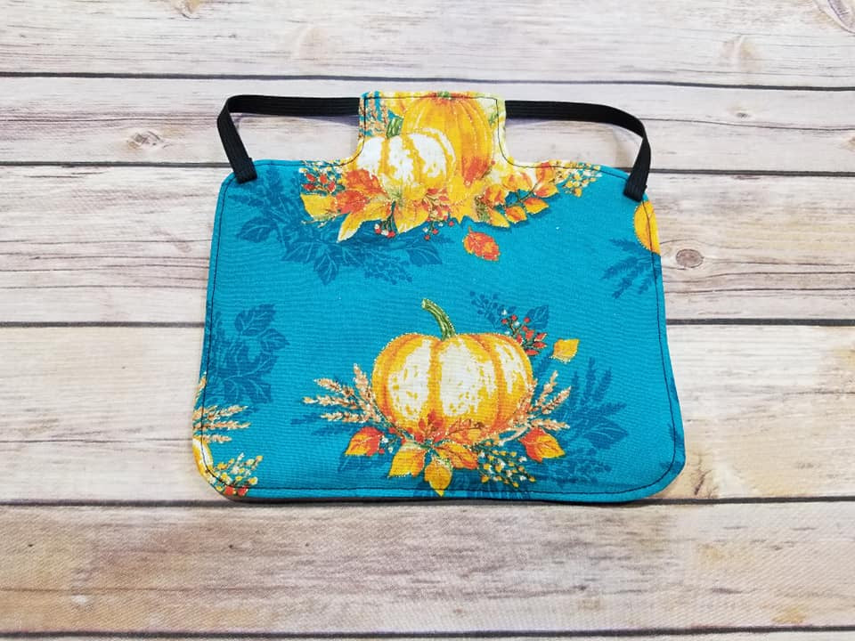 Pumpkins on Teal Chicken Saddle/Hen Apron