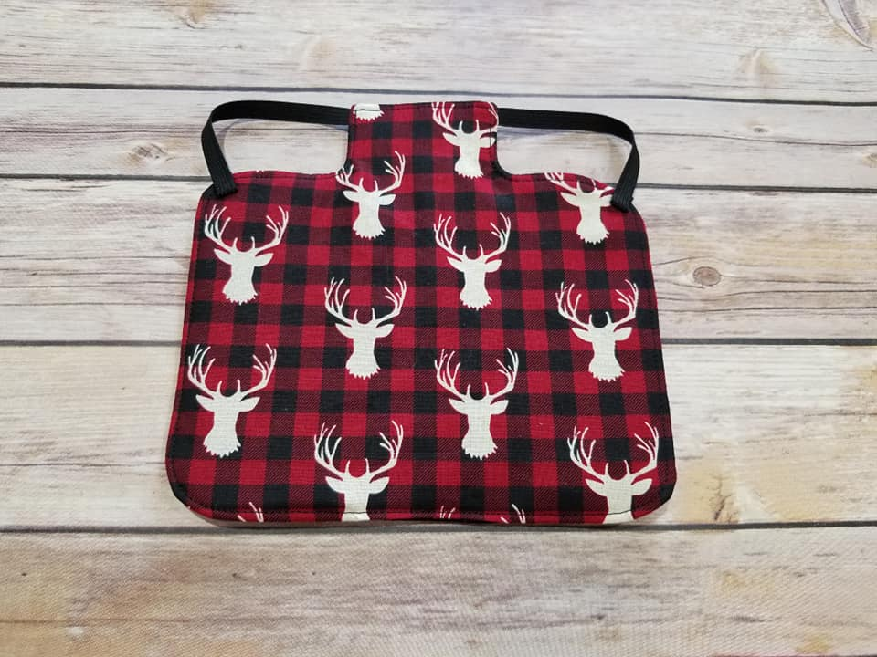 Plaid Deer Head Print Chicken Saddle/Hen Apron
