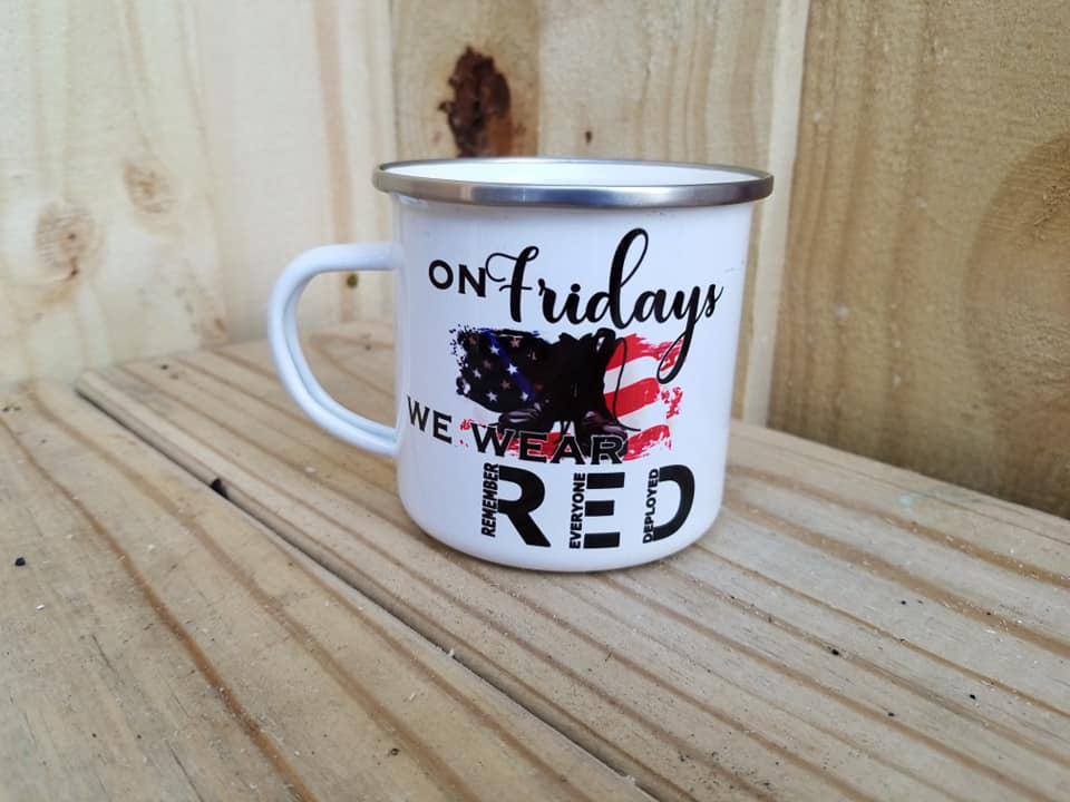 On Friday's We Wear Red Camp Mug