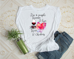 I Love Wine And Chickens Women's Muscle Tank