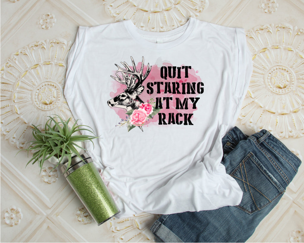 Quit Staring At My Rack Women's Muscle Tank