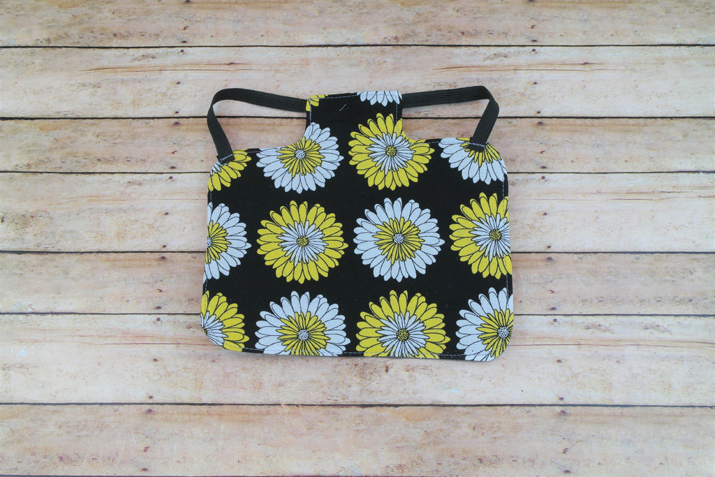 Yellow Daisy on Black Background Chicken Saddle/Hen Apron