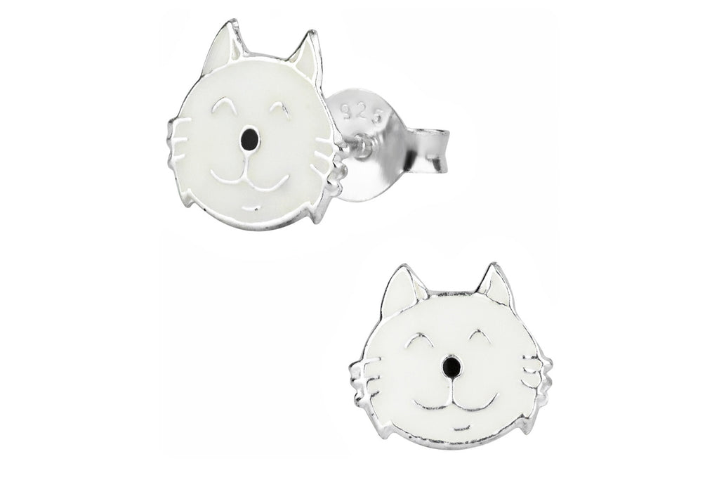 Sterling Silver White Kitty Cat Stud Earrings