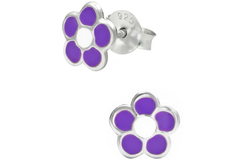 Sterling Silver White & Purple Daisy Flower Stud Earrings
