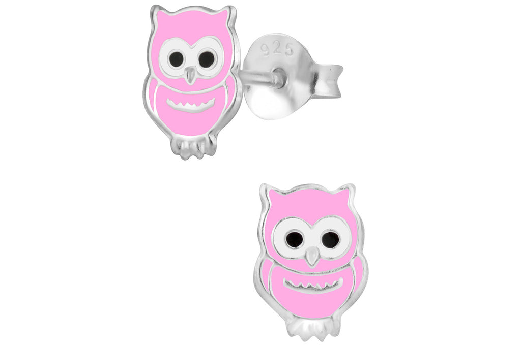 Sterling Silver Pink Owl Stud Earrings