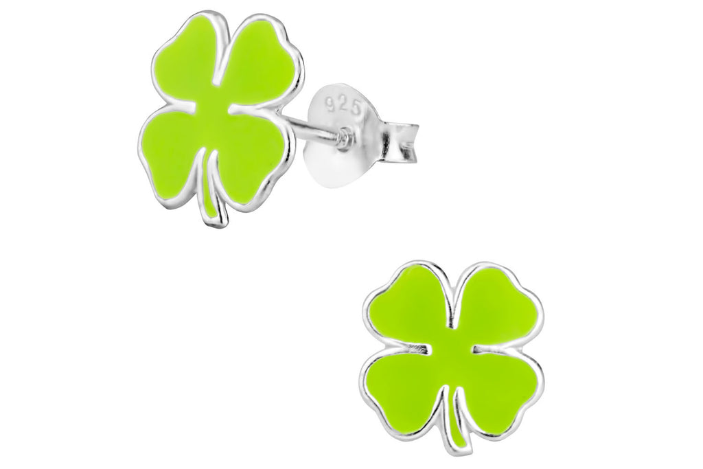 Sterling Silver Green Shamrock Stud Earrings