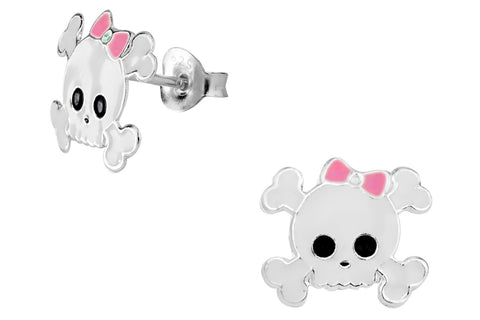 Sterling Silver Girly Skull & Crossbones Stud Earrings