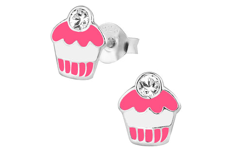 Sterling Silver Cute Pink & White Jeweled Cupcake Stud Earrings
