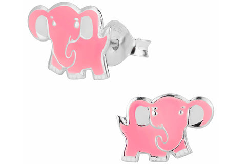 Sterling Silver Pink Elephant Stud Earrings