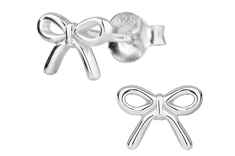 Sterling Silver Cute Little Bow Stud Earrings