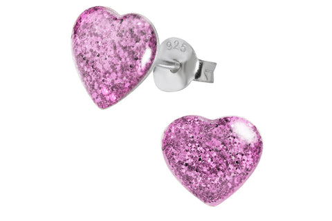Sterling Silver Purple Glitter Heart Earrings