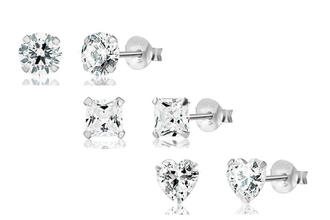 3 Pairs of Sterling Silver CZ Stud Earrings