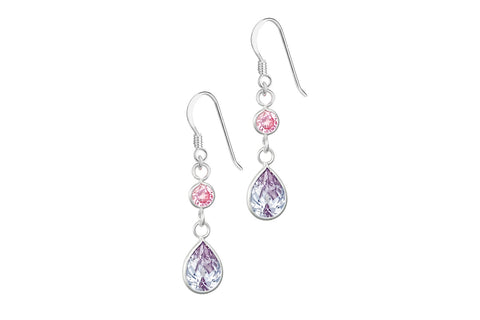 Sterling Silver Pink & Purple Tear Drop Dangle Earrings