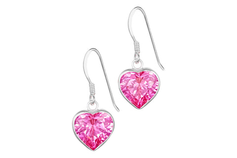 Sterling Silver Pink Dangle Heart Earrings