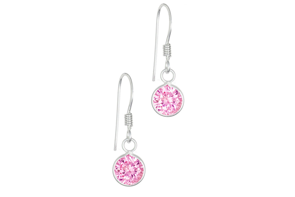Sterling Silver Simulated Diamond Round Pink Dangle Earrings