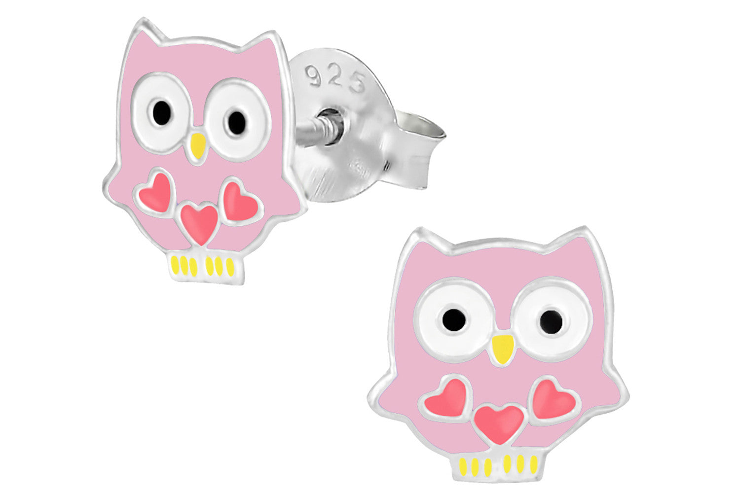 sterling silver pink owl with hearts stud earrings penny and piper