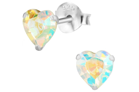 Sterling Silver Aurora Borealis Crystal Heart Earrings
