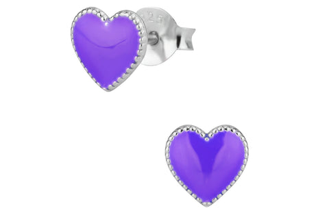 Sterling Silver Purple Heart Earrings