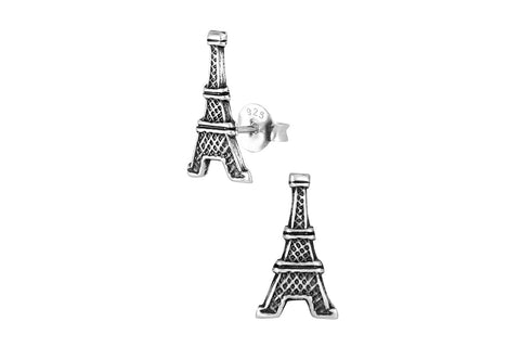 Sterling Silver Vintage Paris Eiffel Tower Stud Earrings
