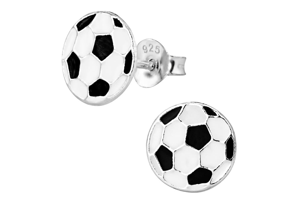 Sterling Silver Flat Black and White Soccer Ball Stud Earrings