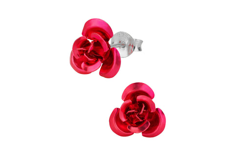 Sterling Silver Red Rose Stud Earrings