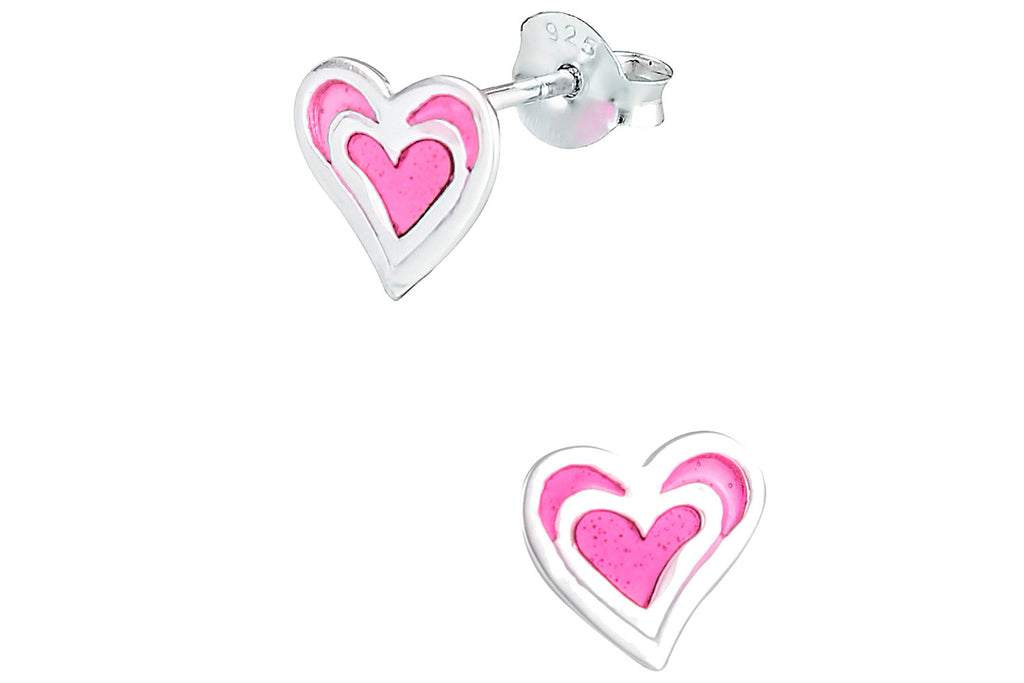 Sterling Silver Pink Double Heart Earrings