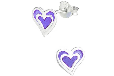 Sterling Silver Purple Double Heart Earrings