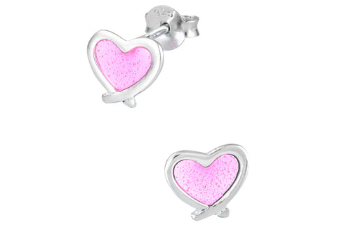 Sterling Silver Light Pink Heart Earrings