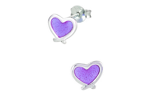 Sterling Silver Purple Heart Stud Earrings