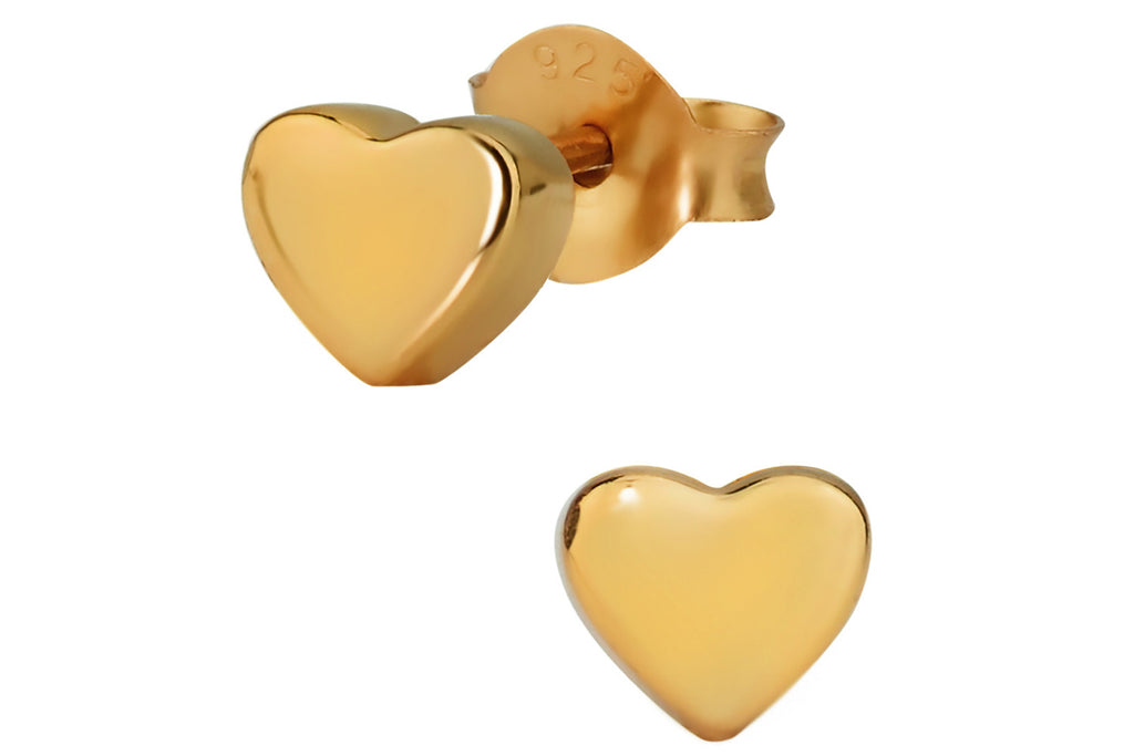 Sterling Silver Rose Gold Plated Heart Earrings