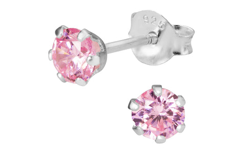 Sterling Silver Pink CZ Simulated Diamond Stud Earrings