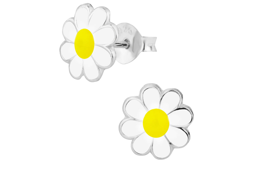 Sterling Silver White & Yellow Daisy Flower Stud Earrings