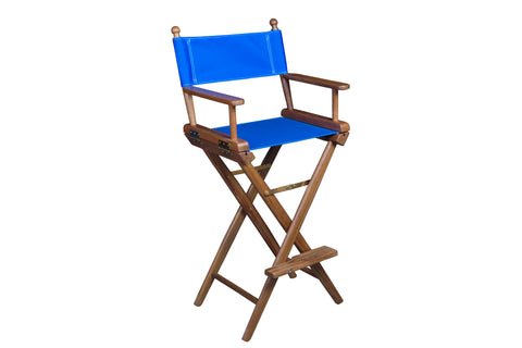 Whitecap Teak Captain's Chair with Blue Seat Covers