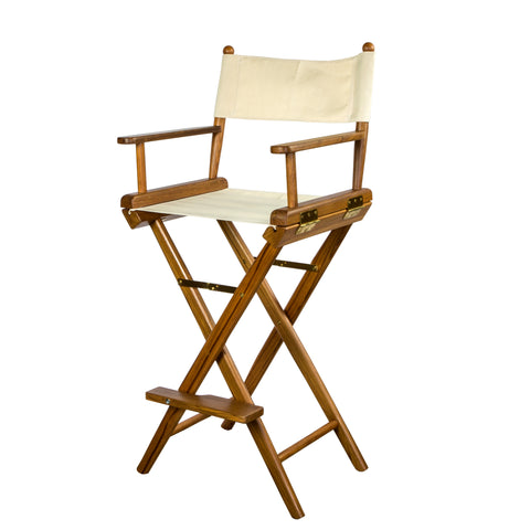 Whitecap Teak Captain's Chair with Natural Seat Covers