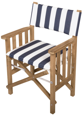 61050 - Director's Chair II with Deluxe Cushions - Navy/White Stripe