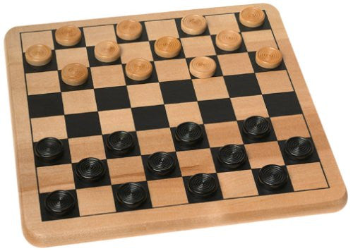 Wood Checkers & Tic Tac Toe Board Game