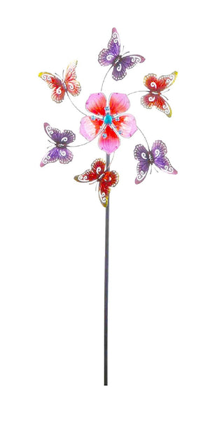 Continental Art Center - Kinetic Wind Garden Spinner - Pink Flower & Butterflies