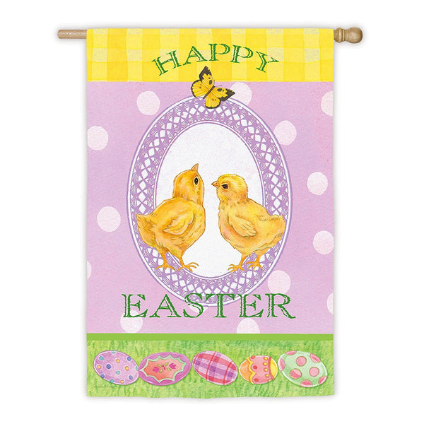 """Happy Easter"" Baby Chicks Flag"