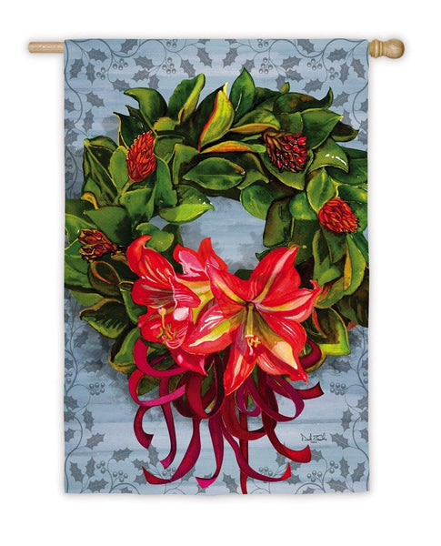 Magnolia Wreath Christmas Flag