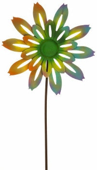 Color Burst Spinning Flower Kinetic Garden Stake