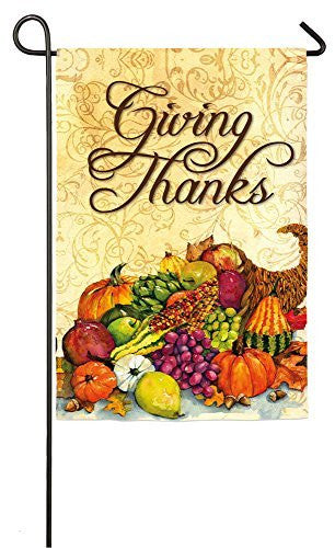 """Giving Thanks"" Cornucopia Garden Flag"