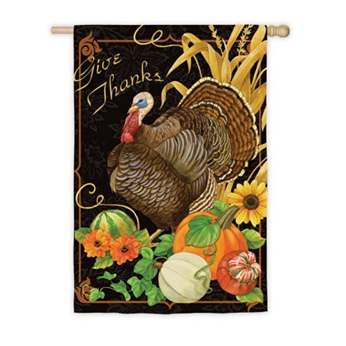 """Give Thanks"" Thanksgiving Turkey Flag"