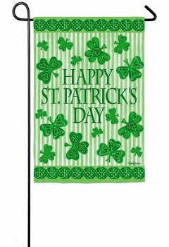 Happy St. Patrick's Day Clovers Garden Flag