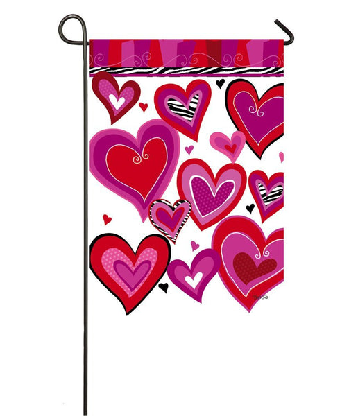 Evergreen Kiss Me Hearts Valentine's Day Garden Flag