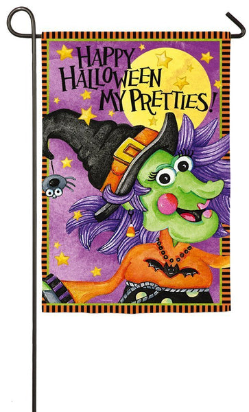 """Happy Halloween My Pretties"" Witch Garden Flag"